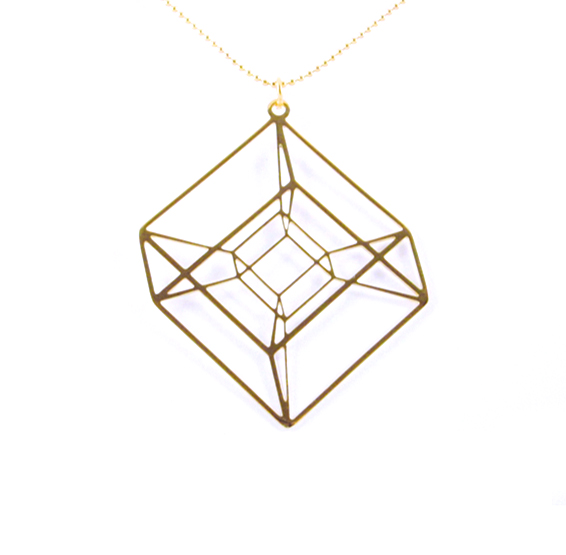 Hypercube Tesseract necklace in gold by Delftia Science Jewelry