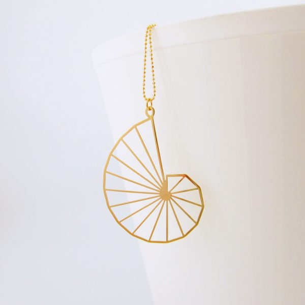 Theodorus spiral geometric gold necklace by Delftia science jewelry
