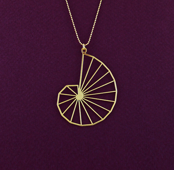 Theodorus spiral geometry gold necklace by Delftia science jewelry