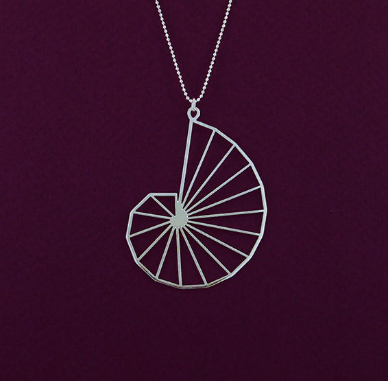 Theodorus spiral geometry silver necklace by Delftia jewelry