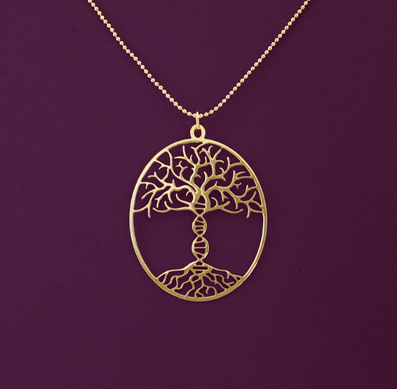 Tree of life with DNA trunk gold necklace by Delftia science jewelry