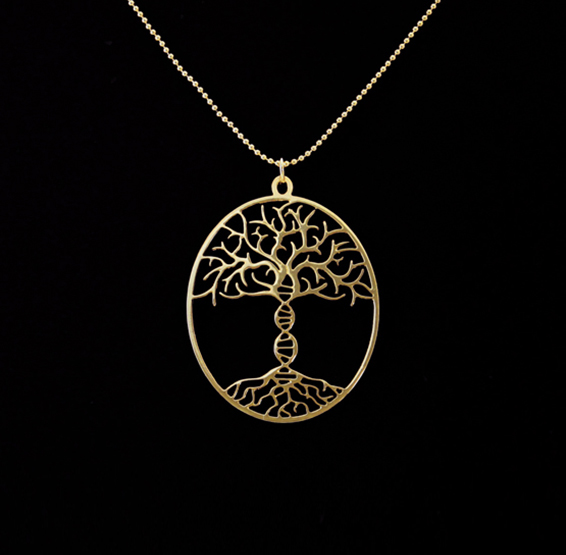 Tree of life with DNA trunk gold necklace from Delftia jewelry