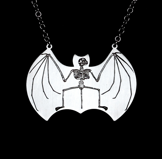 bat anatomy skeleton necklace by Delftia science jewelry