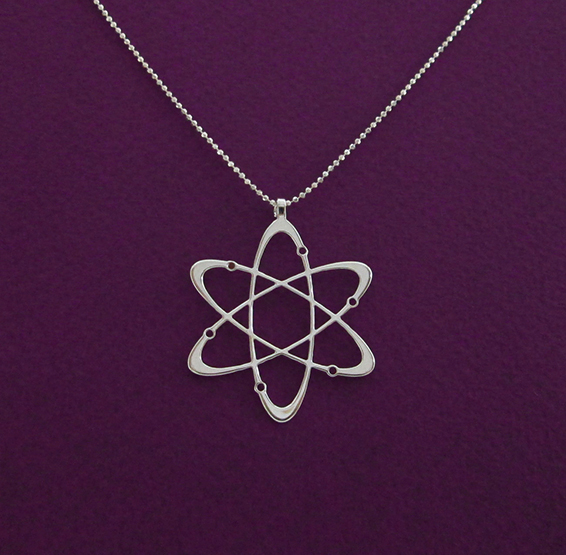 carbon atom necklace in silver By Delftia Science jewelry