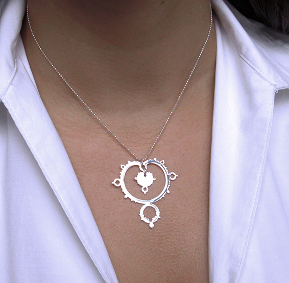 Mandelbrot set fractal silver necklace on model by Delftia science jewelry