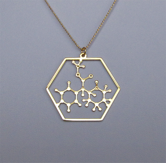 methylphenidate molecule, gold Ritalin necklace, by Delftia jewelry