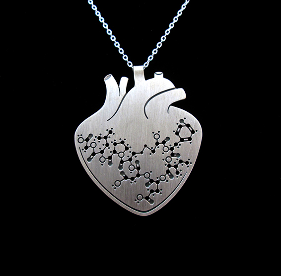 oxytocin anatomical heart necklace