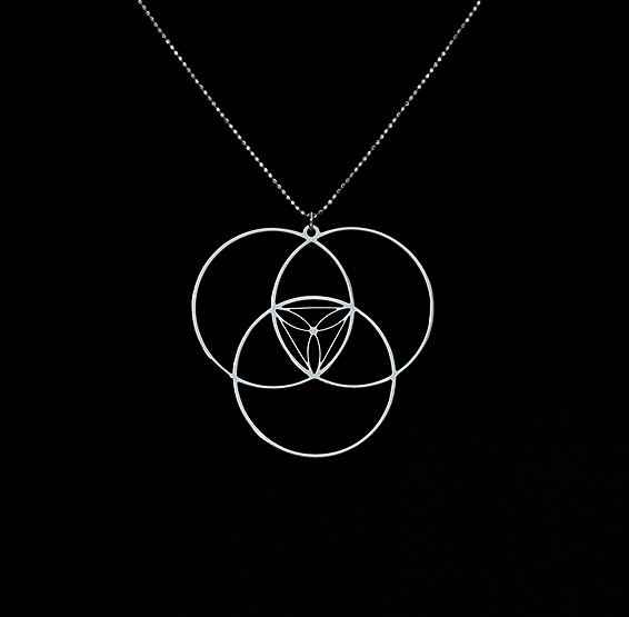 Circles Reuleaux triangle necklace by Delftia Science Jewelry