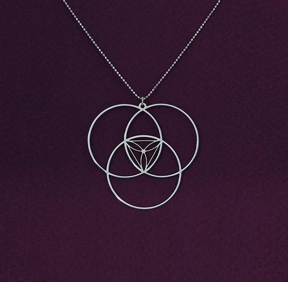 reuleaux triangle geometric silver necklace by Delftia science jewelry