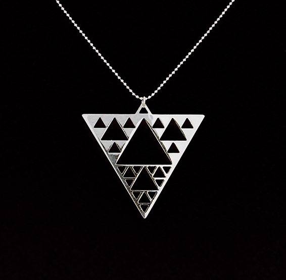 sierpinski triangle silver necklace by Delftia science jewelry