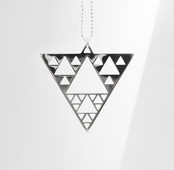 sierpinski triangle fractal silver necklace by Delftia science jewelry