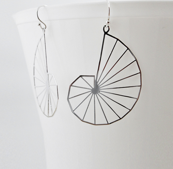 Theodorus spiral geometry silver earrings by Delftia science jewelry
