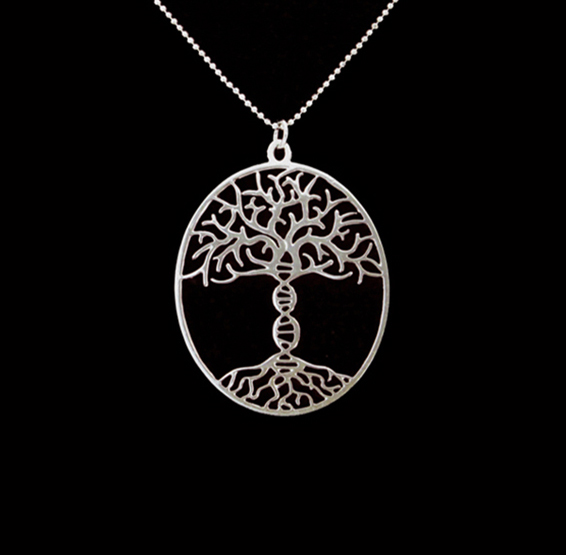 Tree of life with DNA trunk silver necklace by Delftia jewelry