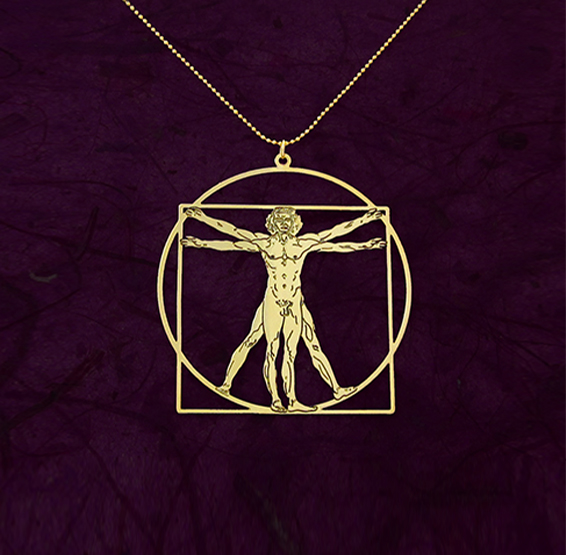 vitruvian man gold necklace, da vinci, by Delftia jewelry
