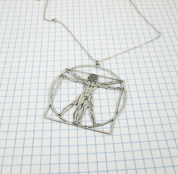 vitruvian man Da Vinci silver necklace by Delftia science jewelry