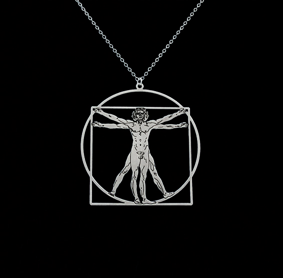 Da Vinci vitruvian man silver necklace by Delftia science jewelry