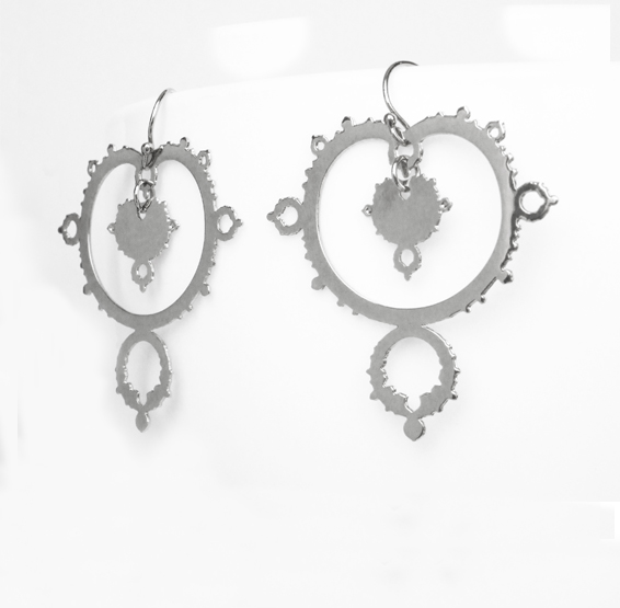 Mandelbrot set fractal earrings in silver