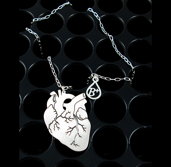 Anatomical silver heart with blood type charm by Delftia science jewelry