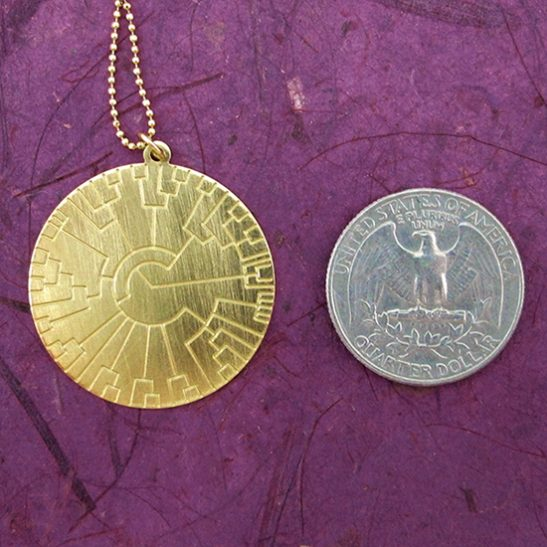 Evolution tree gold disk by Delftia Science Jewelry
