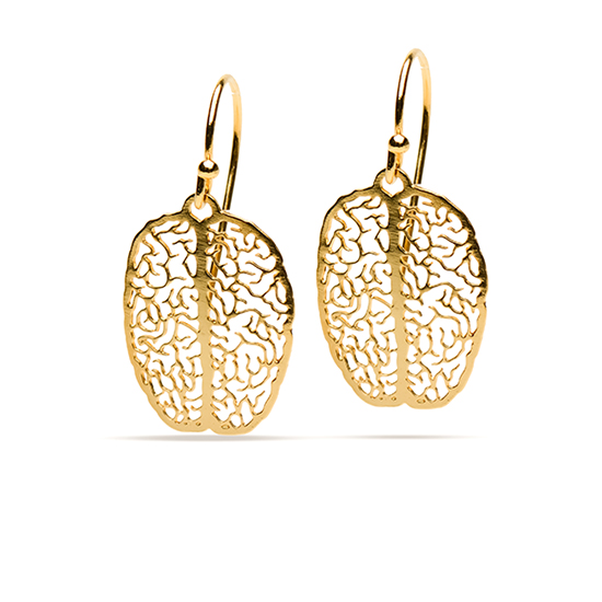 Gold brain earrings by Delftia Science Jewelry