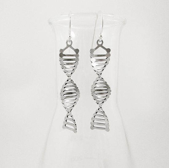 DNA silver earrings by Delftia Science Jewelry
