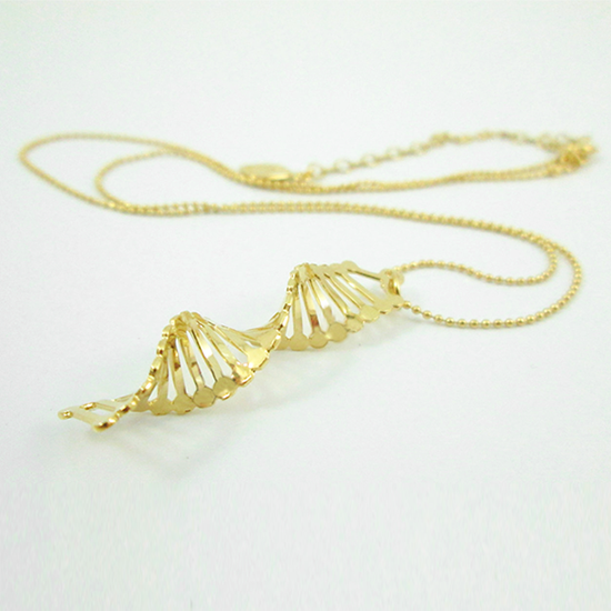 DNA gold necklace double helix by Delftia Science Jewelry