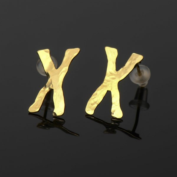 Chromosomes gold earrings by Delftia Science Jewelry