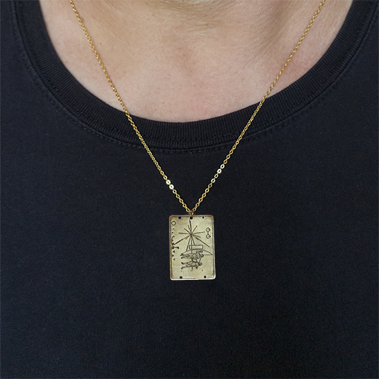 Pioneer plaque on man by Delftia Science Jewelry