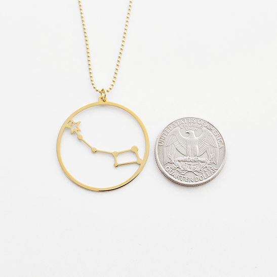 Little dipper gold necklace by Delftia Science Jewelry