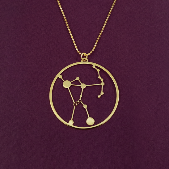 Orion constellation necklace in gold by Delftia Science Jewelry
