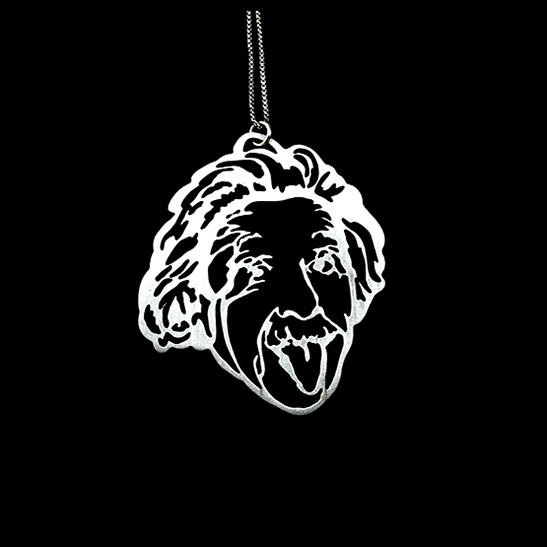Einstein tongue necklace in silver by Delftia Science Jewelry
