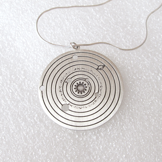 Solar system necklace in silver by Delftia Science Jewelry