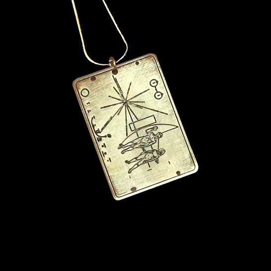 NASA pioneer plaque astronomy gold necklace by Delftia Science Jewelry