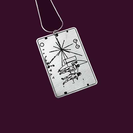 NASA pioneer plaque silver necklace by Delftia Science Jewelry