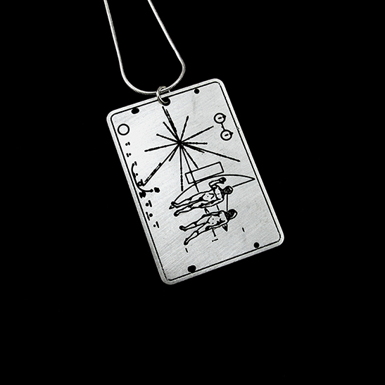 pioneer plaque astronomy necklace silver by Delftia Science Jewelry