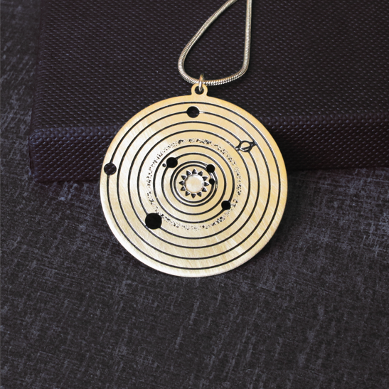 solar system astronomy gold necklace by Delftia Science Jewelry