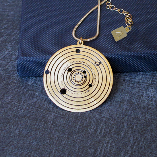 solar system gold astronomy necklace by Delftia Science Jewelry