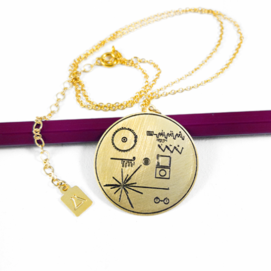 Voyager golden record necklace by Delftia sience Jewelry