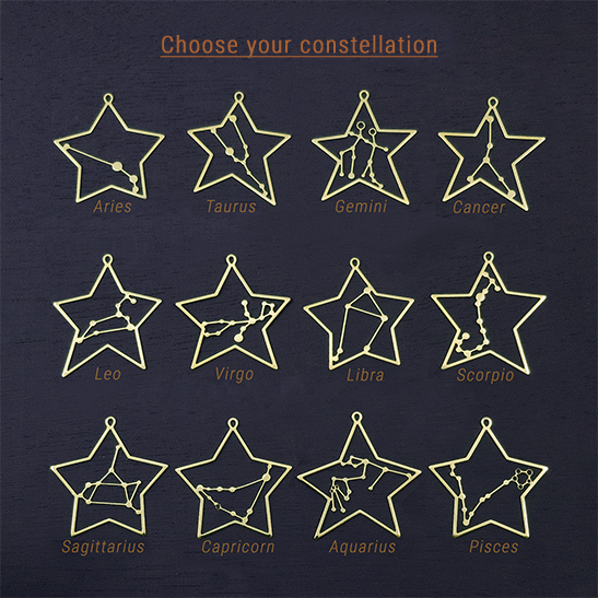 Zodiac constellations in gold by Delftia Science Jewelry