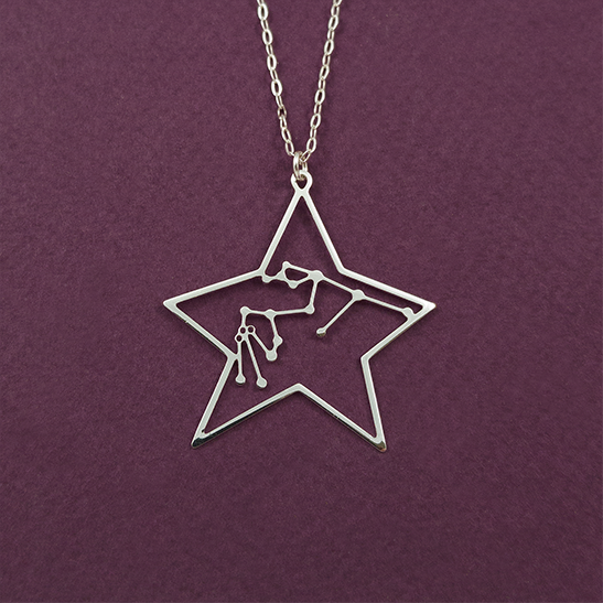 Aquarius constellation necklace in silver by Delftia Science Jewelry