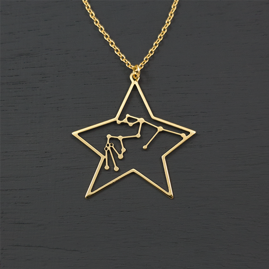 Aquarius necklace gold by Delftia Science Jewelry