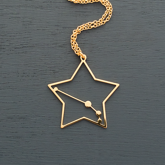 Aries necklace constellation in gold by Delftia Science Jewelry