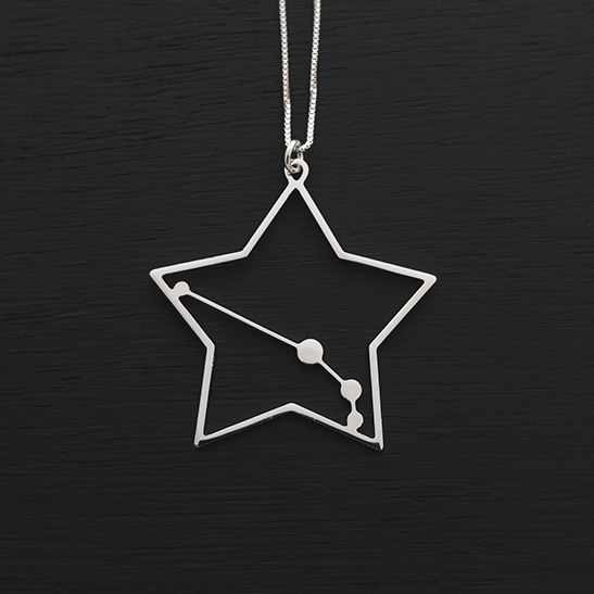 Aries necklace constellation in silver by Delftia Science Jewelry