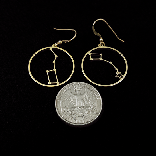 Big dipper and Little dipper earrings by Delftia Science Jewelry
