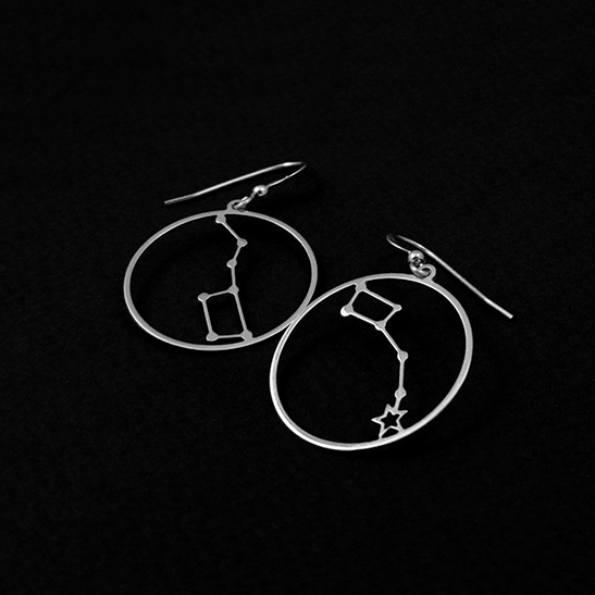 Big dipper and Little dipper earrings in silver by Delftia Science Jewelry