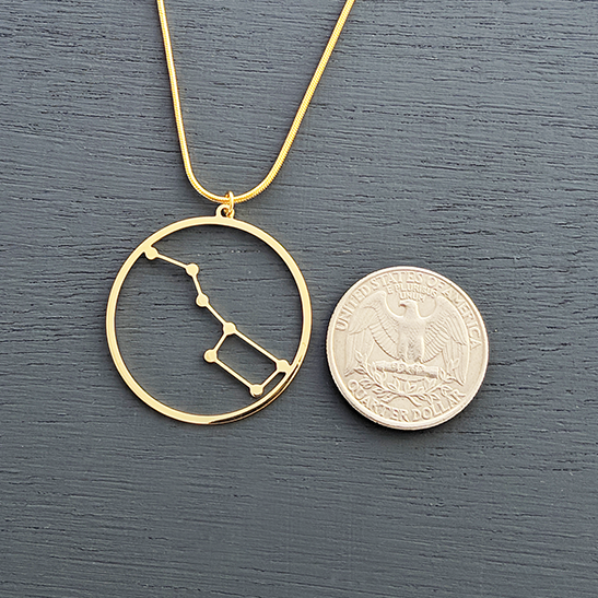 Big dipper gold necklace by Delftia Science Jewelry