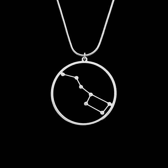 Big dipper ursa major constellation gold necklace by Delftia Science Jewelry