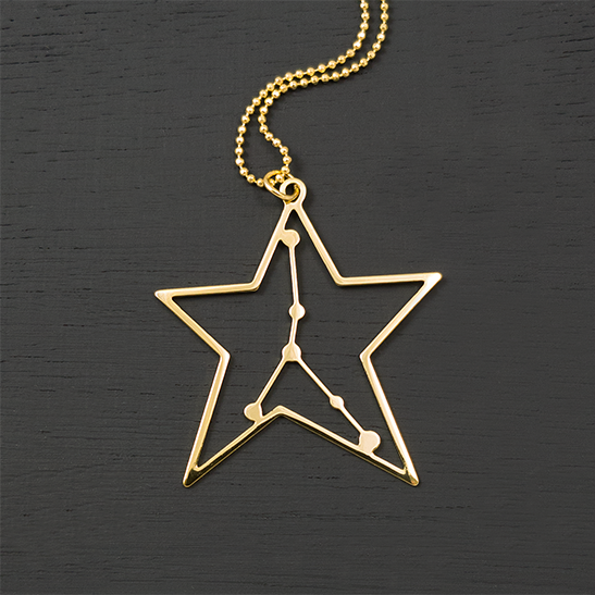 Cancer gold necklace by Delftia Science Jewelry
