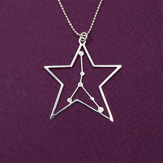 Cancer necklace in silver constellation by Delftia Science Jewelry