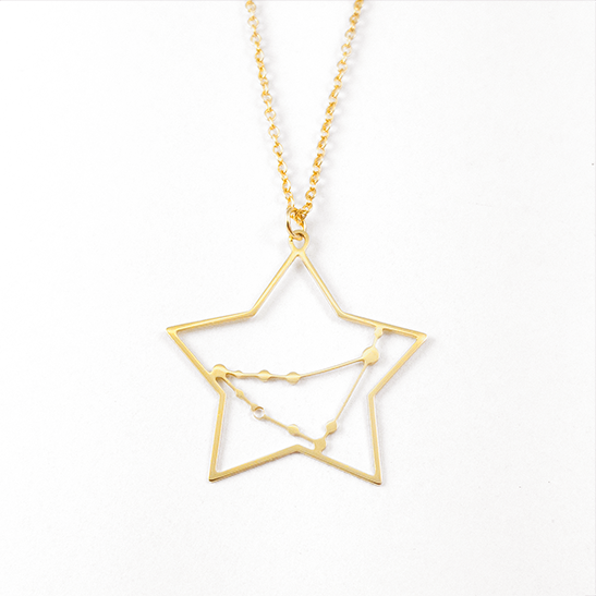 Capricorn constellation gold necklace by Delftia Science Jewelry